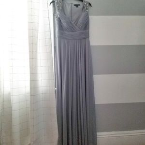 Grey Formal Gown with beaded detailing